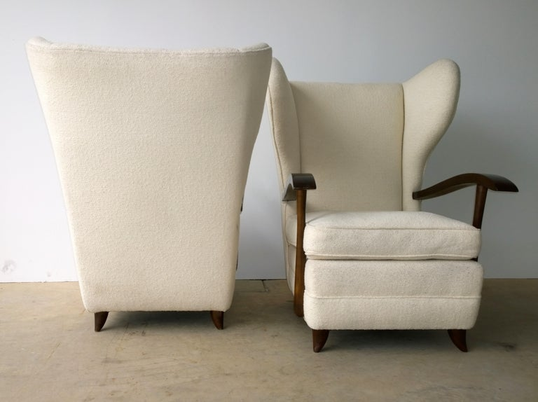Pair of Paola Buffa Mahogany Frame and White Wool Boucle Arm or Lounge Chairs In Good Condition For Sale In Houston, TX