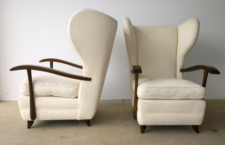 20th Century Pair of Paola Buffa Mahogany Frame and White Wool Boucle Arm or Lounge Chairs For Sale