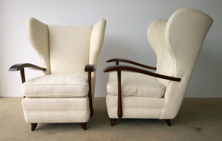 Fabric Pair of Paola Buffa Mahogany Frame and White Wool Boucle Arm or Lounge Chairs For Sale