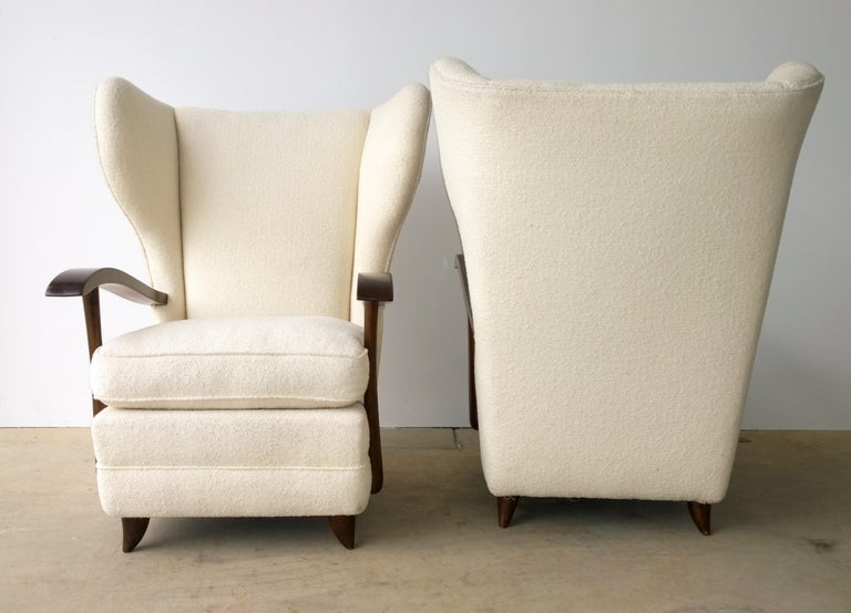 Pair of Paola Buffa Mahogany Frame and White Wool Boucle Arm or Lounge Chairs For Sale 1