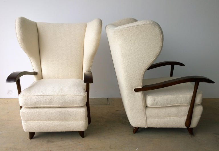 Pair of Paola Buffa Mahogany Frame and White Wool Boucle Arm or Lounge Chairs For Sale 2