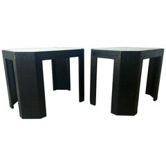 Pr Lorin Marsh Newly Lacquered Grasscloth in Black w/ Glass Side / End Tables