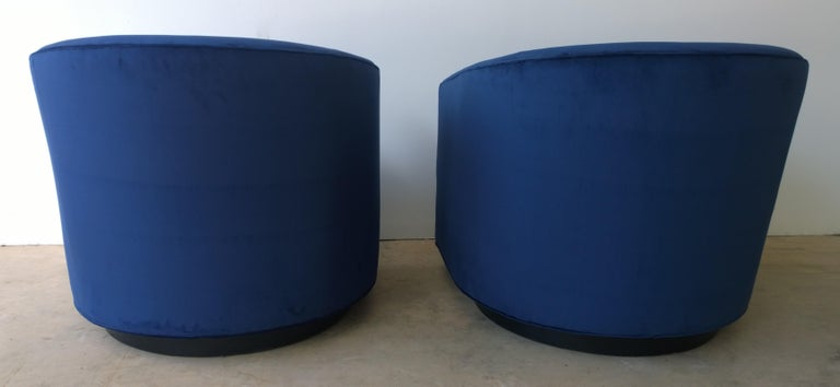 Pair of Baughman Style New Blue Cotton Velvet Swivel Chairs w/ Ebony Wood Bases For Sale 3