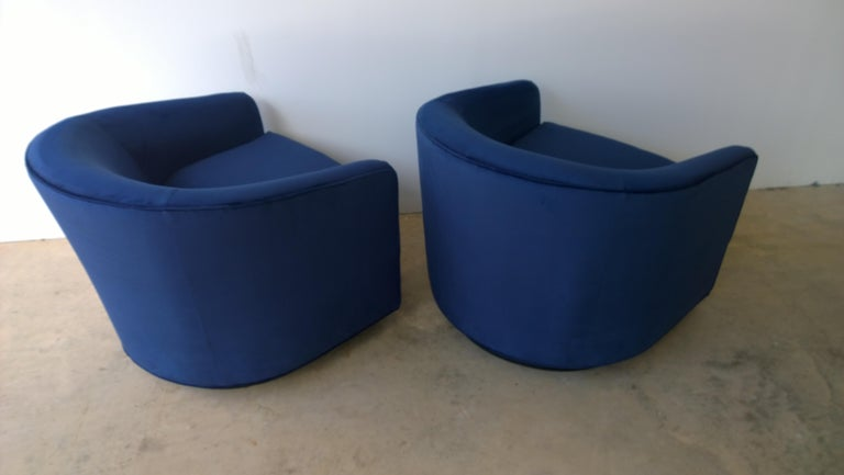 Pair of Baughman Style New Blue Cotton Velvet Swivel Chairs w/ Ebony Wood Bases For Sale 5