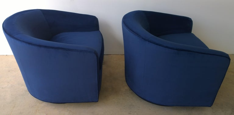 Pair of Baughman Style New Blue Cotton Velvet Swivel Chairs w/ Ebony Wood Bases For Sale 6