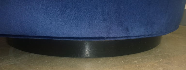 Pair of Baughman Style New Blue Cotton Velvet Swivel Chairs w/ Ebony Wood Bases For Sale 11