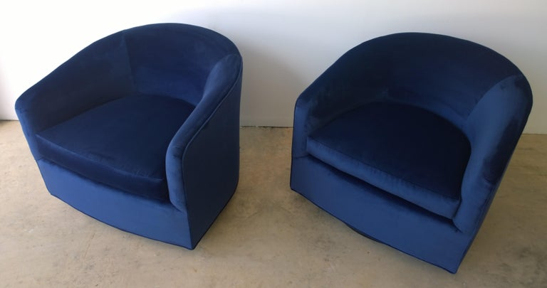 American Pair of Baughman Style New Blue Cotton Velvet Swivel Chairs w/ Ebony Wood Bases For Sale