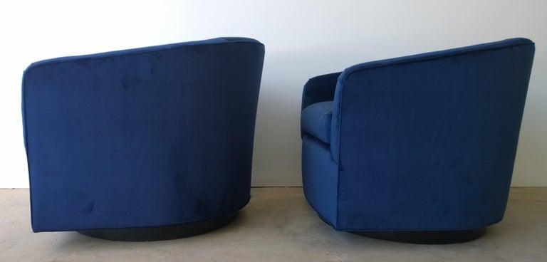 Ebonized Pair of Baughman Style New Blue Cotton Velvet Swivel Chairs w/ Ebony Wood Bases For Sale