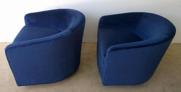 20th Century Pair of Baughman Style New Blue Cotton Velvet Swivel Chairs w/ Ebony Wood Bases For Sale