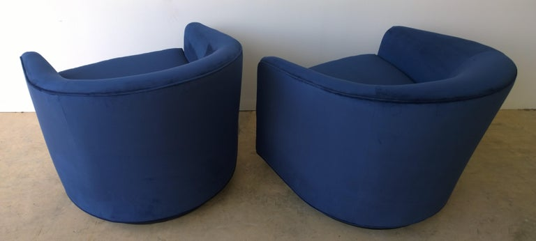 Pair of Baughman Style New Blue Cotton Velvet Swivel Chairs w/ Ebony Wood Bases For Sale 1