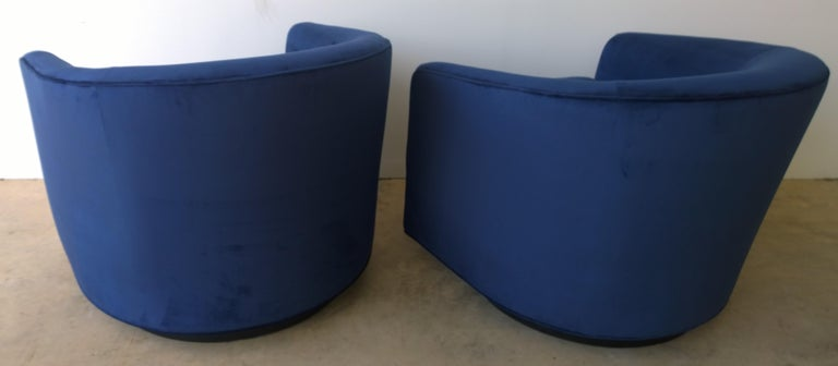 Pair of Baughman Style New Blue Cotton Velvet Swivel Chairs w/ Ebony Wood Bases For Sale 2