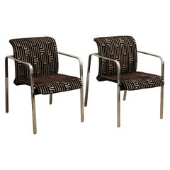 Herman Miller Chrome, Black Rubber w/ Brown & Tan Burnt - Out Velvet Arm Chairs