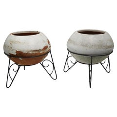 Pair of Mid Century Terracotta Planters in Wrought Iron Stands