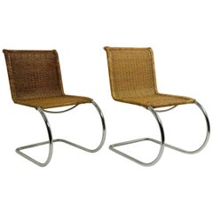 Pr. Mies Mr 10 Dining Chairs Woven Wicker on Chrome Frames