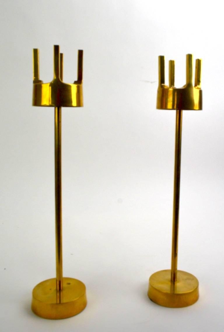 Scandinavian Modern Pair of Modernist Brass Candlesticks in the Style of Pierre Forsell for Skultuna For Sale