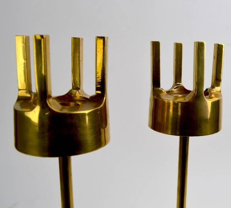 Swedish Pair of Modernist Brass Candlesticks in the Style of Pierre Forsell for Skultuna For Sale