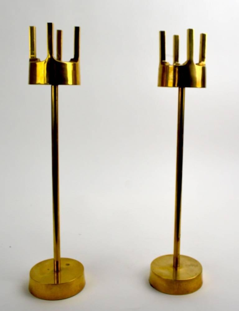 20th Century Pair of Modernist Brass Candlesticks in the Style of Pierre Forsell for Skultuna For Sale