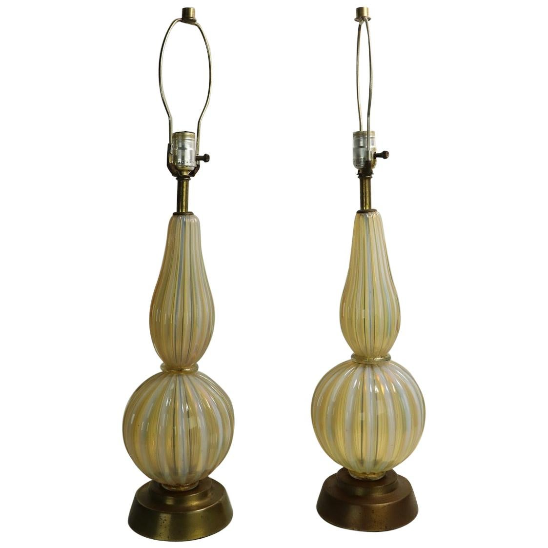 Pair of Murano Table Lamps Attributed to Barovier