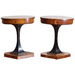 Pr Northern Italian Walnut/Cherrywood Neoclassic 1-Drawer Tables, 19thc & later