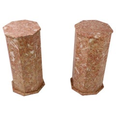 Pair of Octagonal  Rouge Marble Pedestals