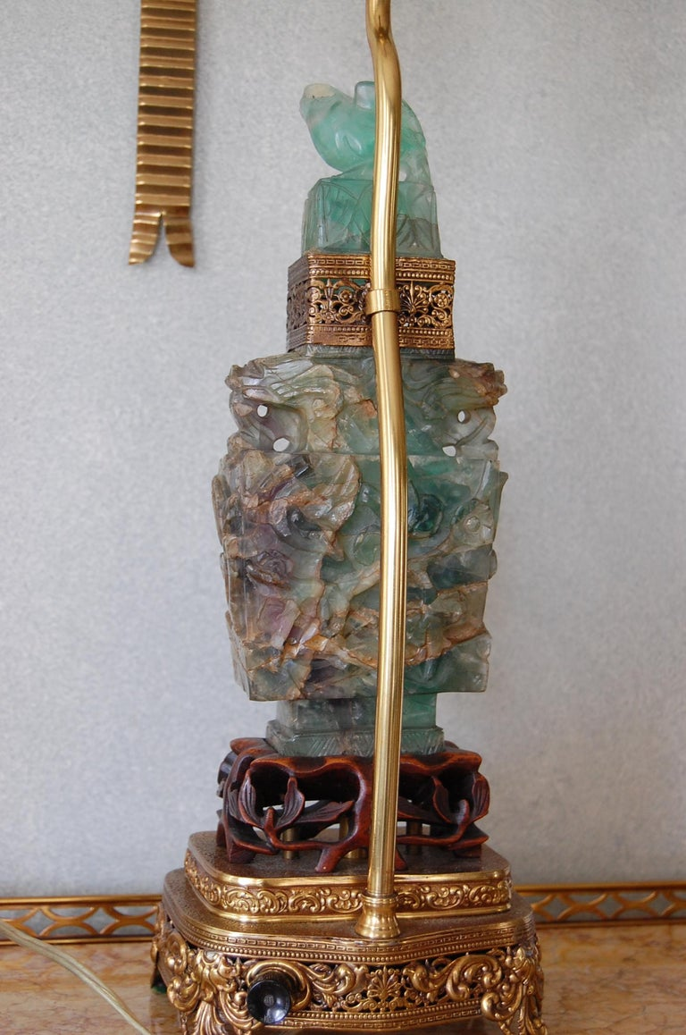 Carved ChineseQuartz Lamps on Brass and Wood Bases, Mid-19th Century, Pair For Sale 2