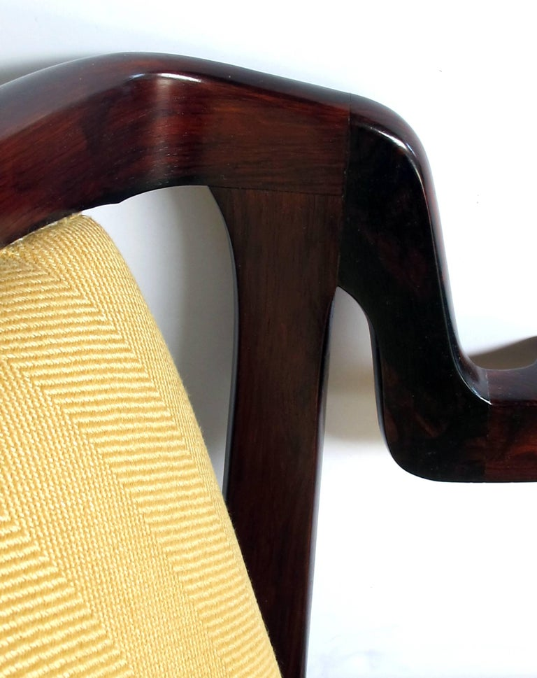 Pair of Danish Modern Rosewood Arm Chairs in the Manner of Kai Kristiansen For Sale 1