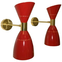 Pr of Double Cone Red Enameled Aluminum w/ White Interior & Brass Accent Sconces