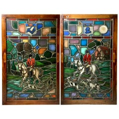 Pr of Equestrian Stained Glass Windows Depicting Fox Hunters, By Lamb Studios