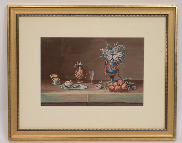 Pair of late 19th century still life Gouaches after Paul LeLong, French, 1799-1846. His specialty was small still-life of table tops with various objects. One with flowers, fruit, wine and bread. The other with flowers, fruit, wine and an egg. Both