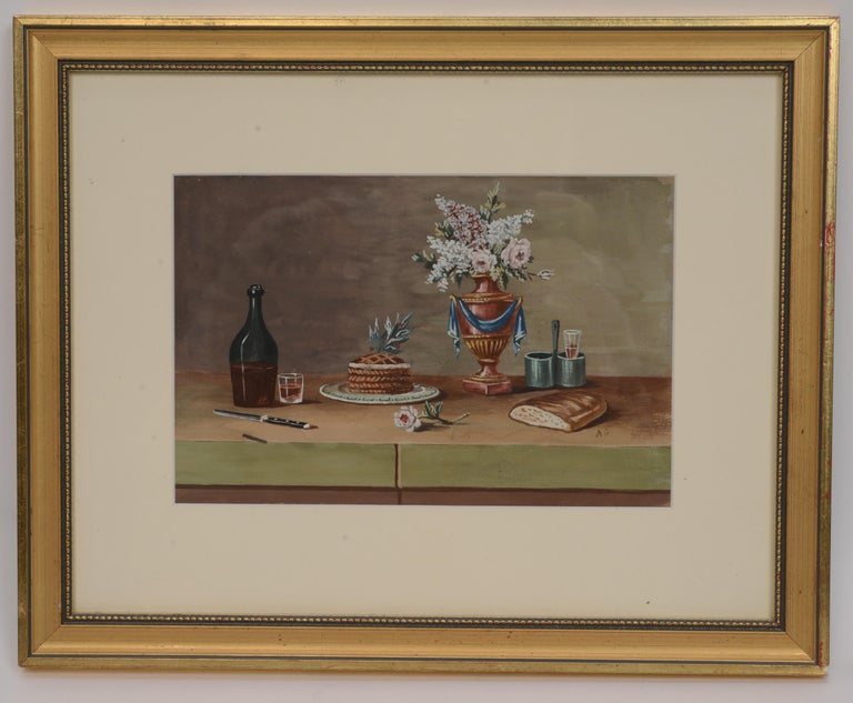 French Pair of Still Lifes, Gouache after Paul LeLong and Both Initialed