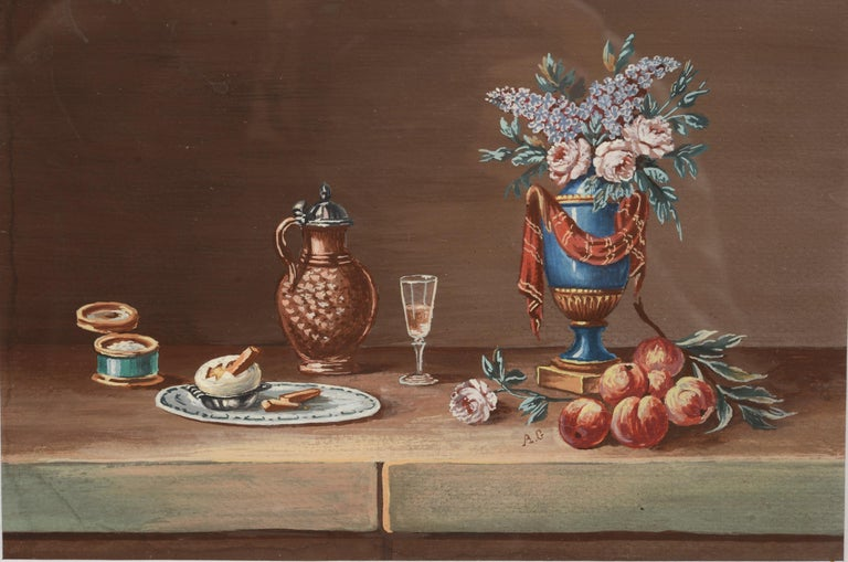 Pair of Still Lifes, Gouache after Paul LeLong and Both Initialed