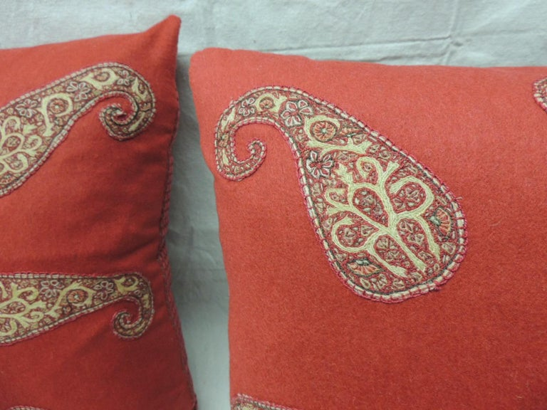 Armenian Red Persian Paisley Hand-Applique Embroidered Paisleys Decorative Pillows For Sale
