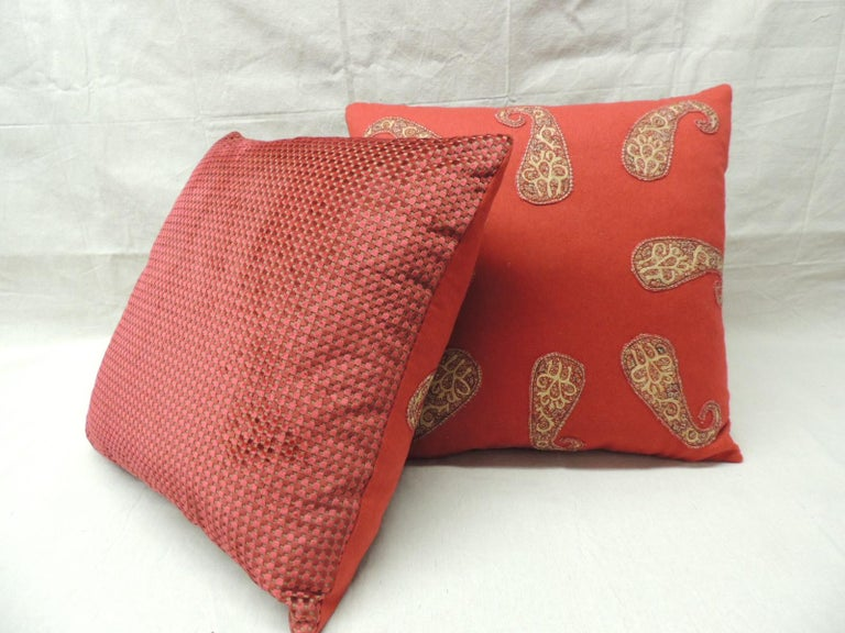 Hand-Crafted Red Persian Paisley Hand-Applique Embroidered Paisleys Decorative Pillows For Sale