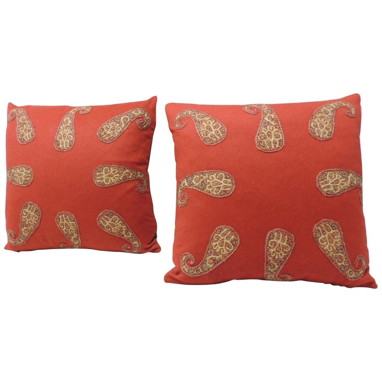 Red Persian Paisley Hand-Applique Embroidered Paisleys Decorative Pillows For Sale