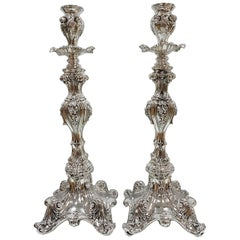 Pair of Sterling 20th Century Silver Barocco Style Candlesticks