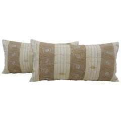 Pr of Vintage Tan & Brown Woven Ewe Stripweaves African Bolster Pillows