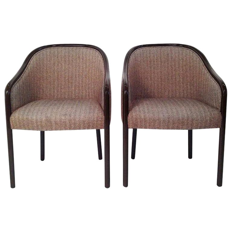 Pr of Ward Bennett Brown Lacquered Fame w/ Herringbone Wool Upholstery Armchairs For Sale