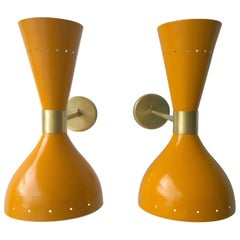 Pr Yellow Enameled & White Interior Brass w/ Brass Hardware Double Cone Sconces