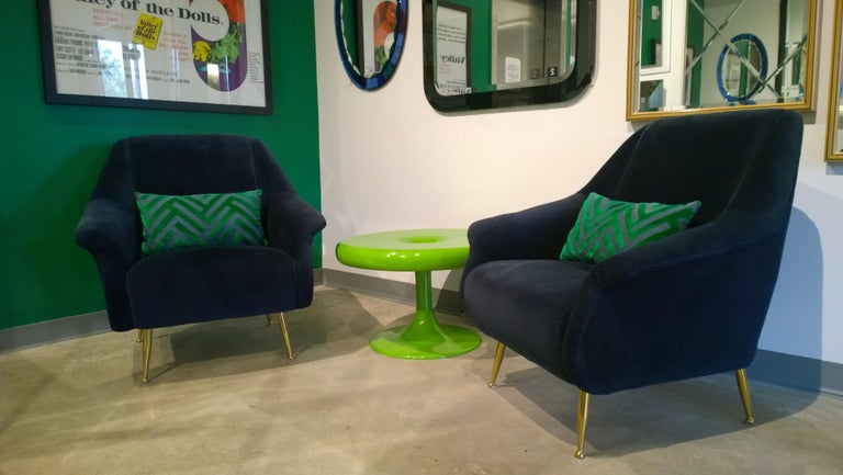 Pair of Zanuso Style Navy Blue Velvet and Brass Legs Lounge or Armchairs For Sale 14