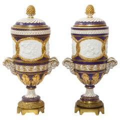 Pr Ormolu Mtd French Sevres Biscuit & Porcelain Cobalt Blue Ground Seasons Vases