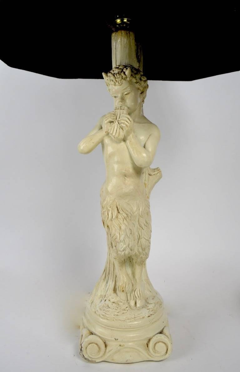 Hollywood Regency Pair of Plaster Lamps Depicting Pan For Sale