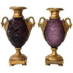 Pr. Russian Dore Bronze Mtd. Hand-Diamond Cut Amethyst Crystal Swan Handle Vases