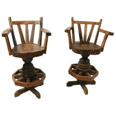 Pair of Rustic Wagon Wheel Adirondack Swivel Stools after Old Hickory