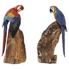 Pr. Semi Precious Stone & Gold Models of Scarlet Macaw Parrots, P. Müller, Swiss