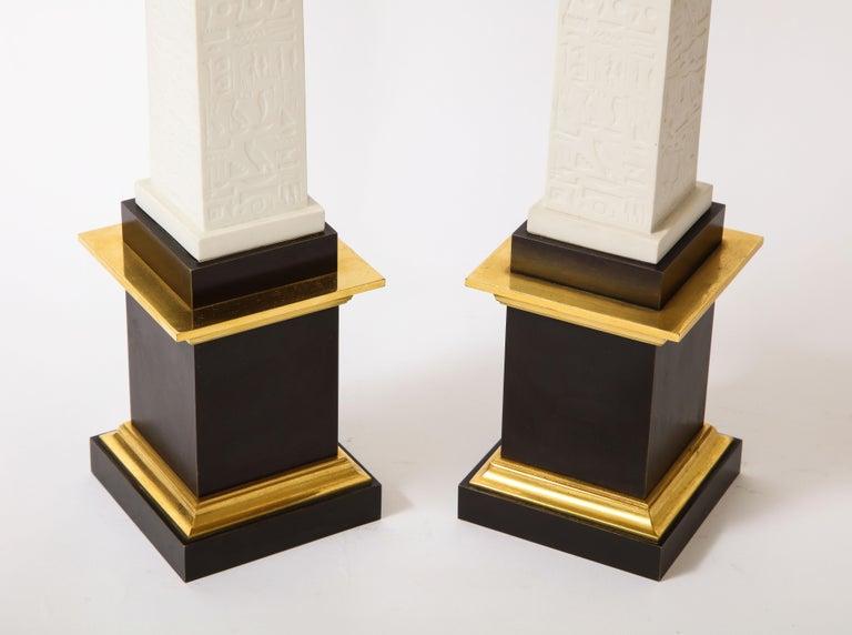 Pr. Signed Sevres Porcelain, Patinated and Gilt Bronze Mounted Egyptian Obelisks For Sale 5