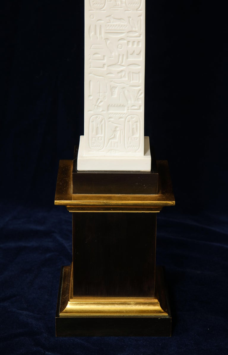 Pr. Signed Sevres Porcelain, Patinated and Gilt Bronze Mounted Egyptian Obelisks For Sale 6