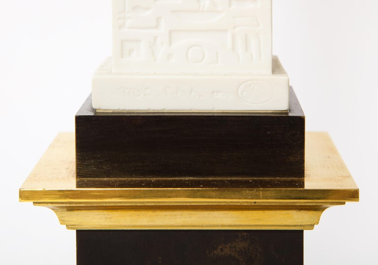 Pr. Signed Sevres Porcelain, Patinated and Gilt Bronze Mounted Egyptian Obelisks For Sale 7