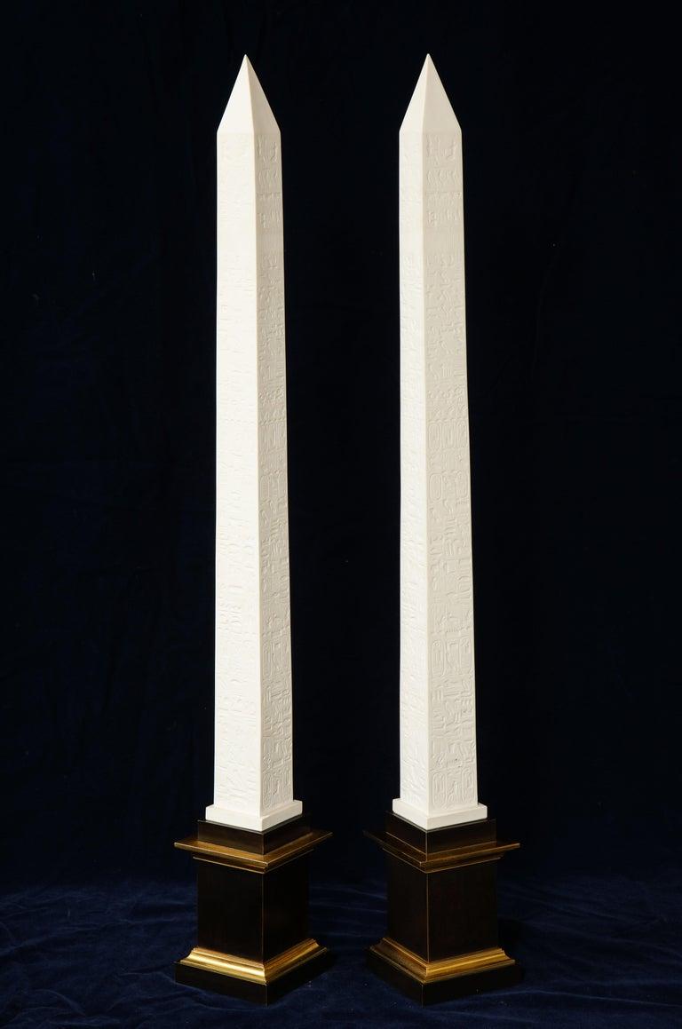 French Pr. Signed Sevres Porcelain, Patinated and Gilt Bronze Mounted Egyptian Obelisks For Sale