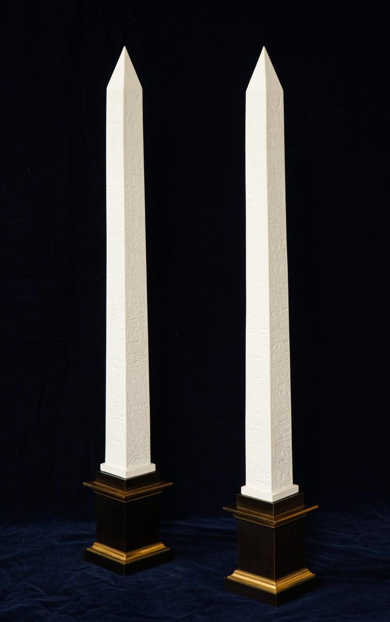 Hand-Carved Pr. Signed Sevres Porcelain, Patinated and Gilt Bronze Mounted Egyptian Obelisks For Sale