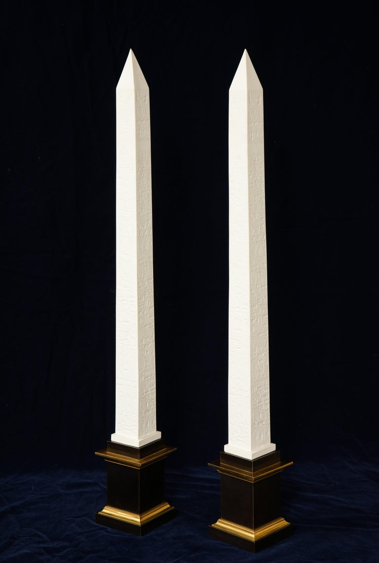 Pr. Signed Sevres Porcelain, Patinated and Gilt Bronze Mounted Egyptian Obelisks In Good Condition For Sale In New York, NY